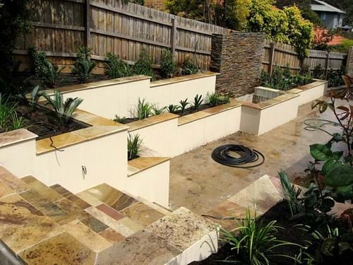 Eltham Retaining wall Pond and water feature